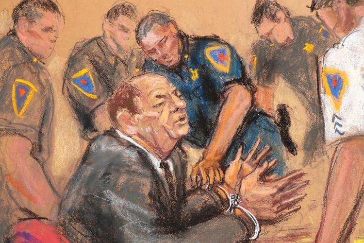 Судебный рисунок с заседания по делу Вайнштейна.