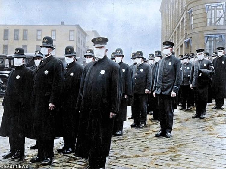 Полицейские Сиэтла во время эпидемии испанки