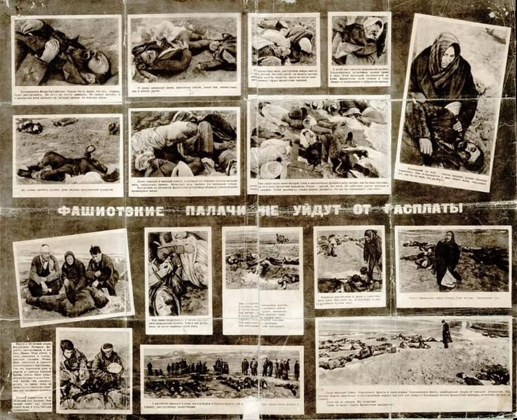 Плакат из фотографий зверств фашистов в Керчи. Фото Е.Халдей / Из фондов ВКИКМЗ