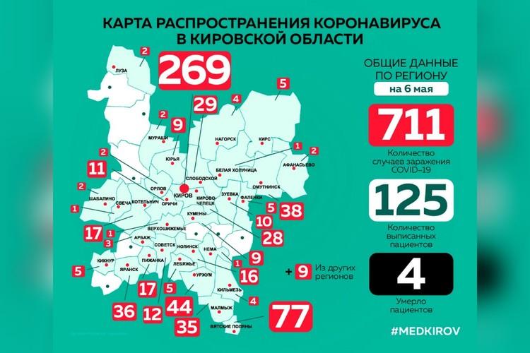 Карта распространения коронавируса по районам области. Фото: vk.com/medkirovru