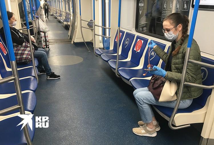 В вагоне московского метро.