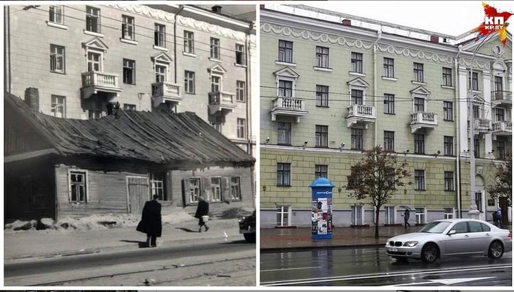 Та самая хатка, которую успел снять Михась Мицкевич прямо на центральном проспекте Минска.