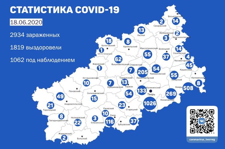 Карта распространения коронавирусной инфекции по муниципалитетам Тверской области. Фото: ПТО