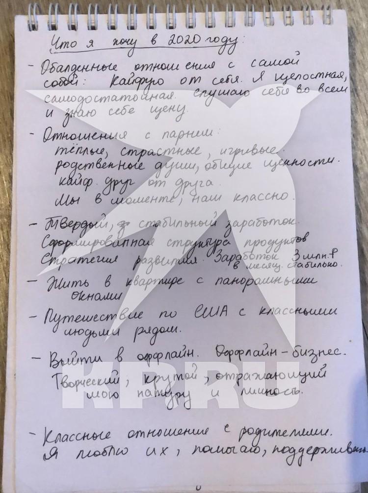 Дневник Насти остался у ее друзей Фото: предоставлено Андрей и Анастасия Лебедевыми
