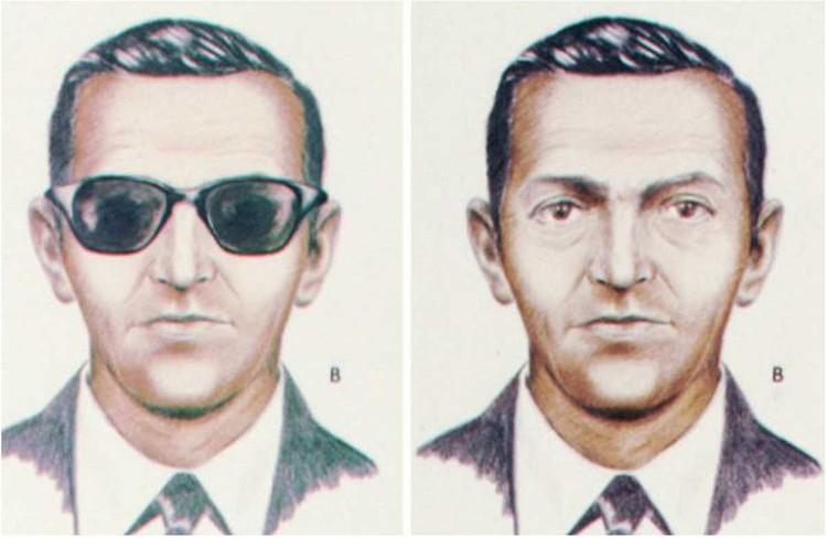 Фотороботы воздушного пирата, составленные ФБР: смуглый мужчина около 40 лет, рост от 178 до 180 см, вес от 77 до 82 кг. Был одет в легкое черное пальто, мокасины, темный костюм, белую рубашку. Представился Дэном Купером. Фото: FBI