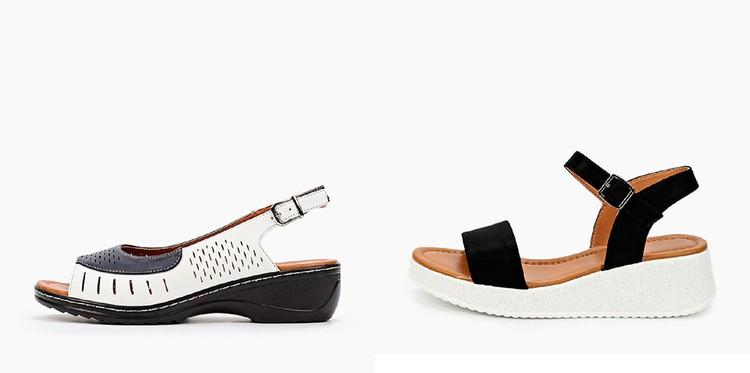 Немодные (слева) и модные (справа) сандалии