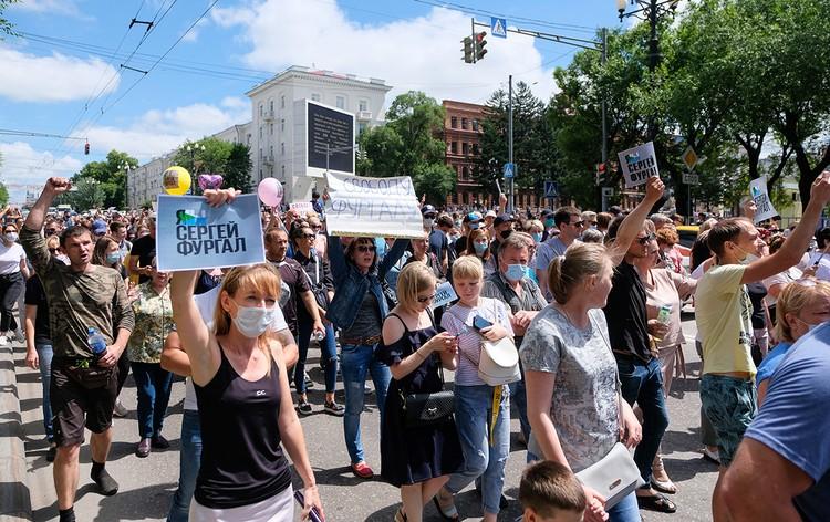 То, что произошло в субботу в Хабаровске - это естественная реакция на арест человека, за которого два года назад проголосовали 70% избирателей. Фото: Дмитрий Моргулис/ТАСС