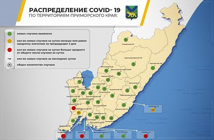 Распространение COVID-19 по Приморью. Инфографика: сайт правительства Приморского края