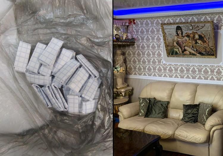 Тайник располагался за диваном. Фото: пресс-служба ГУ МВД России по Санкт-Петербургу и Ленобласти