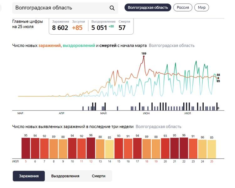 Статистика коронавируса. Фото: Яндекс Статистика.
