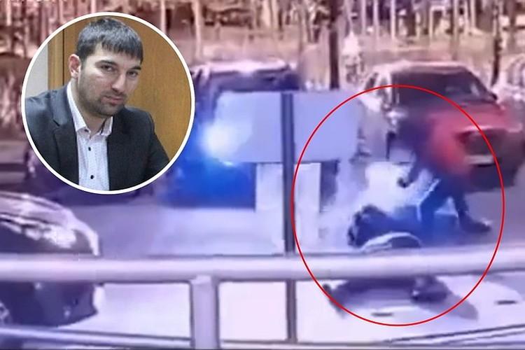 Ибрагим Эльджаркиев и кадр с места убийства