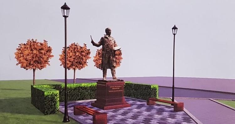 Эскиз памятника Ефрему Зверькову. Графика: администрация Твери