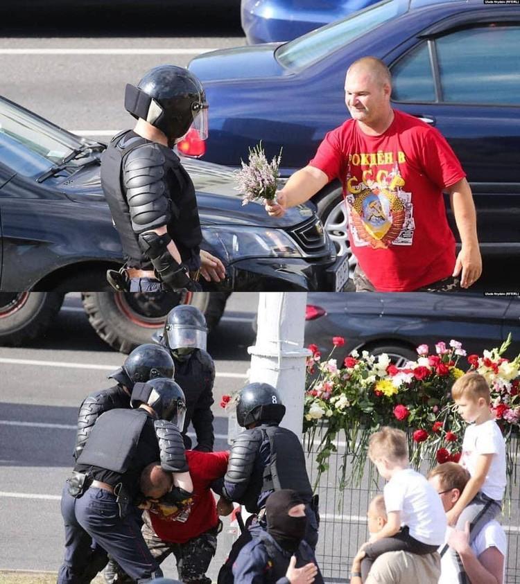 Жестким задержанием оборачивались даже попытки поблагодарить за службу. Фото: Уладь Гридин/Радио Свобода