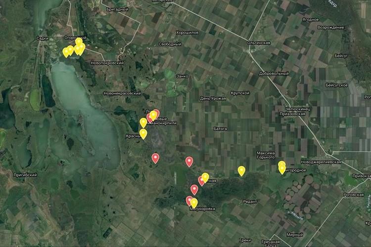 Очаги распространения саранчи в Краснодарском крае