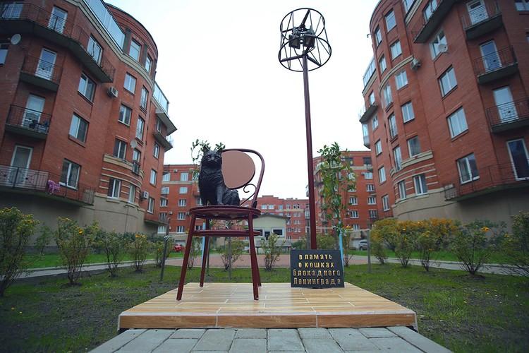 На улице Композиторов в Петербурге установлен памятник блокадной кошке.