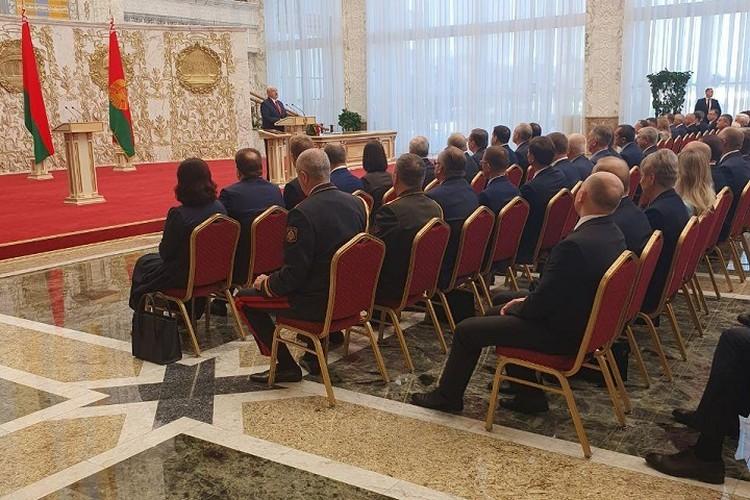 """Первое фото в сети с инаугурации Лукашенко. Фото: Telegram """"Пул Первого""""."""