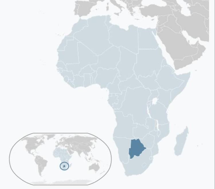 Ботсвана на карте Африки.