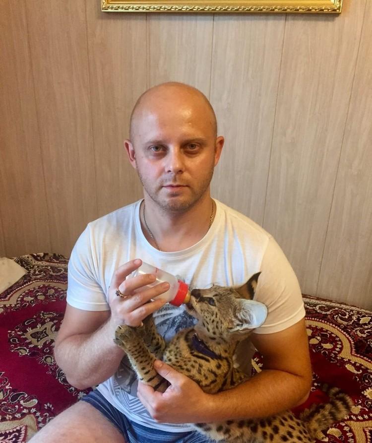 Артем сам кормил кота из бутылочки. Фото: личный архив героя.