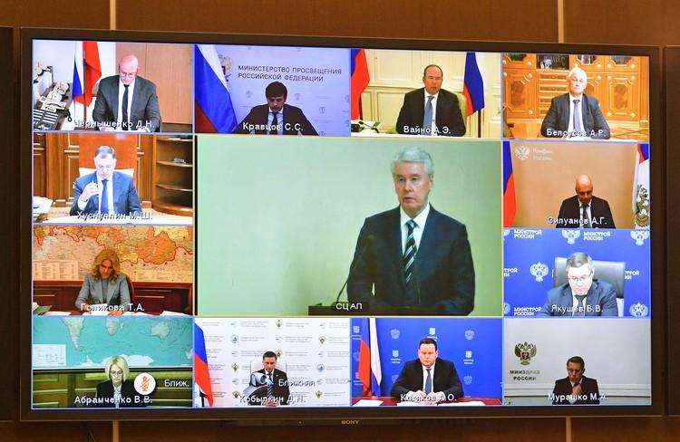 Во время расширенного заседания президиума Госсовета по видеосвязи. Фото: Алексей Дружинин/пресс-служба президента РФ/ТАСС