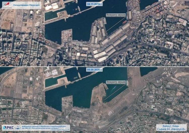 Бейрут до и после взрыва на снимках со спутников Роскосмоса.