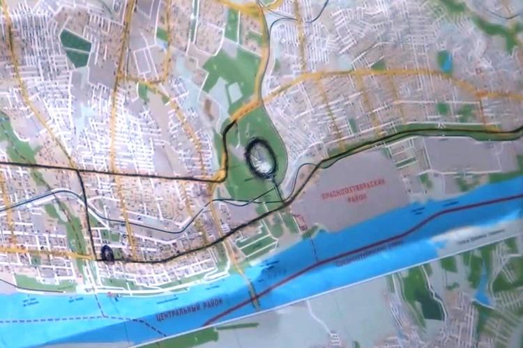 """На карте Волгограда боевики отмечали места, где планировали теракты. Отмечена здесь и """"Родина-мать!"""". Фото - скрин оперативного видео ФСБ."""