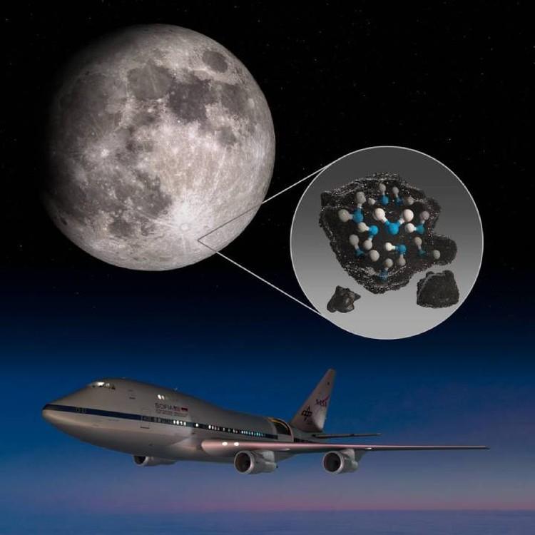 Воду на поверзхности Луны - в ее умеренных широтах- обнаружили летающая обсерватория NASA.