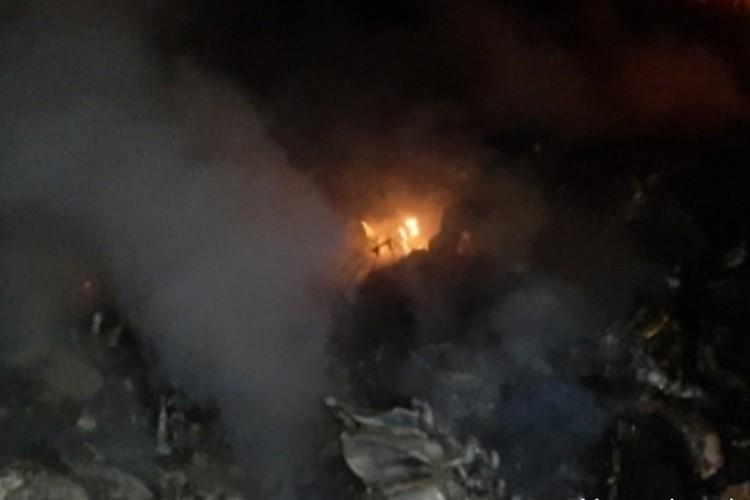 В результате попадания ракеты вертолет потерял управление и упал в горной местности. Фото: МЧС Армении