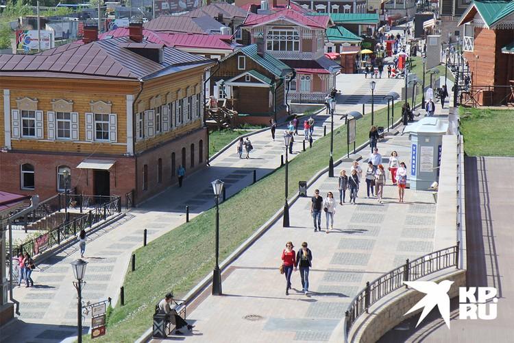 Квартал исторической застройки в Иркутске.