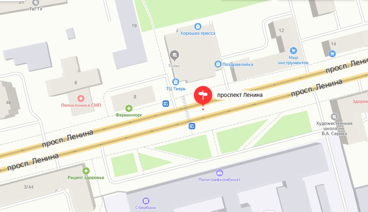 Переход на Ленина, 10. Графика: yandex.ru/maps