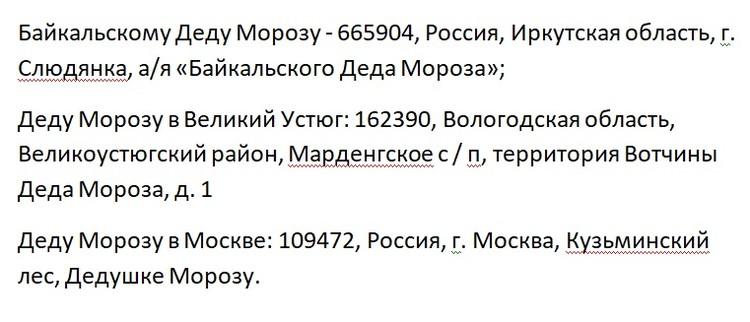 Письмо Деду Морозу в Иркутске: адреса в Слюдянке, Устюге и Москве