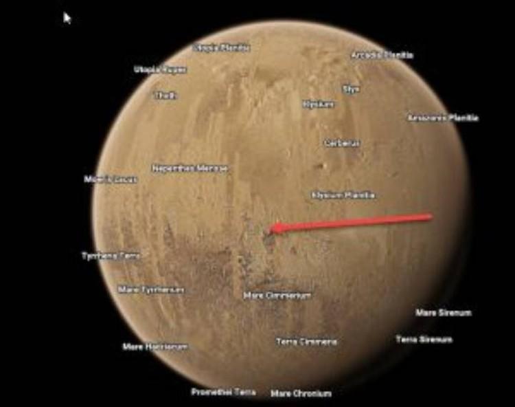 База расположена в экваториальной области Марса.