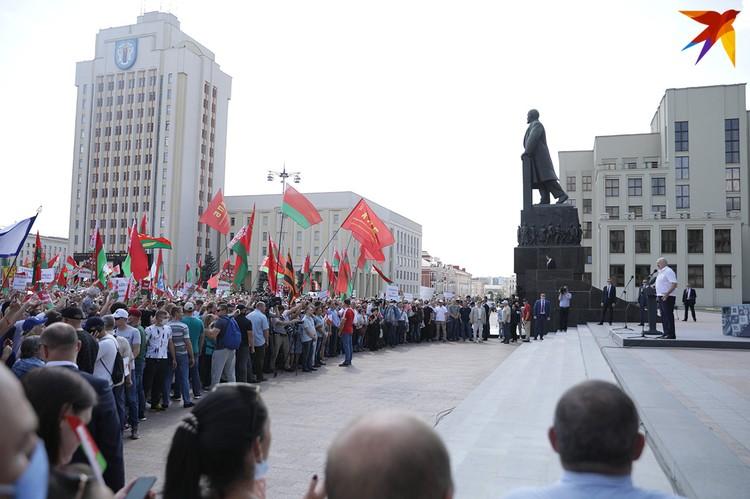Митинг в поддержку Александра Лукашенко на площади Независимости 16 августа 2020-го.