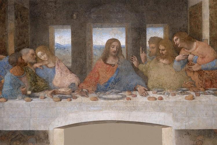 """""""Тайная вечеря"""" (фреска Леонардо да Винчи, фрагмент)."""