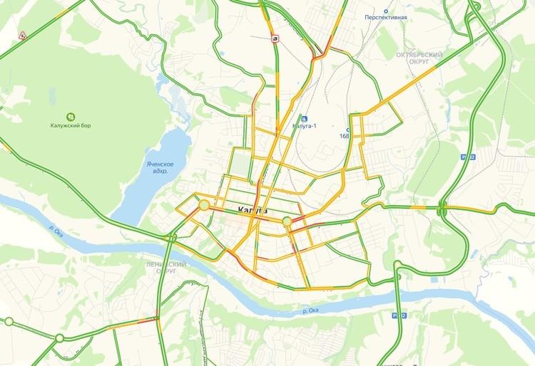 Дорожная ситуация в Калуге утром 20 февраля 2021 года.