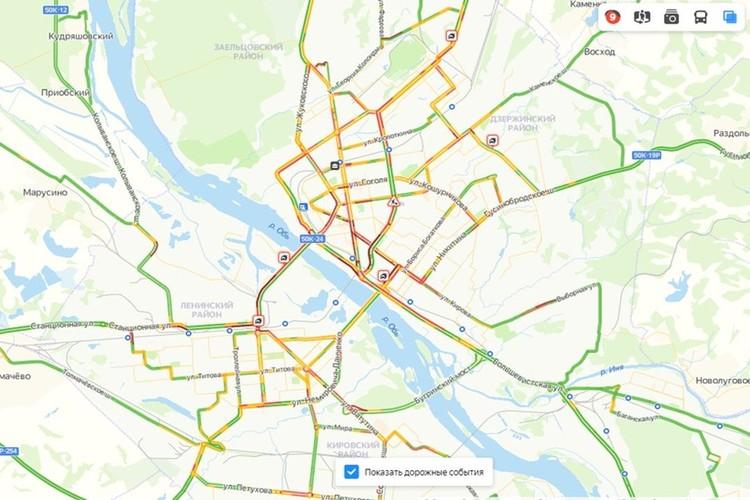 Загруженность городских дорог сейчас оценивается в 9 баллов. Фото: https://yandex.ru/