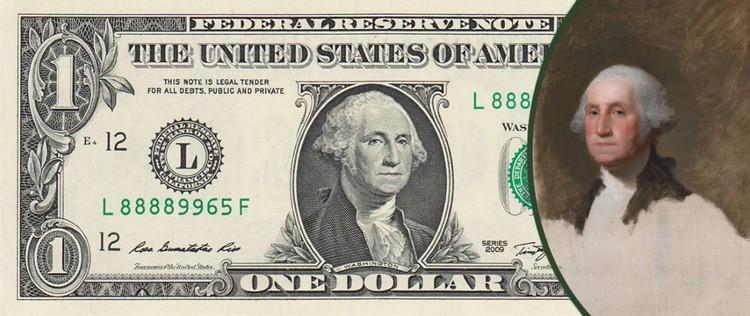 Художник Гилберт Стюарт не завершил Атенеумский портрет Джорджа Вашингтона, но именно это изображение было помещено на долларовую банкноту
