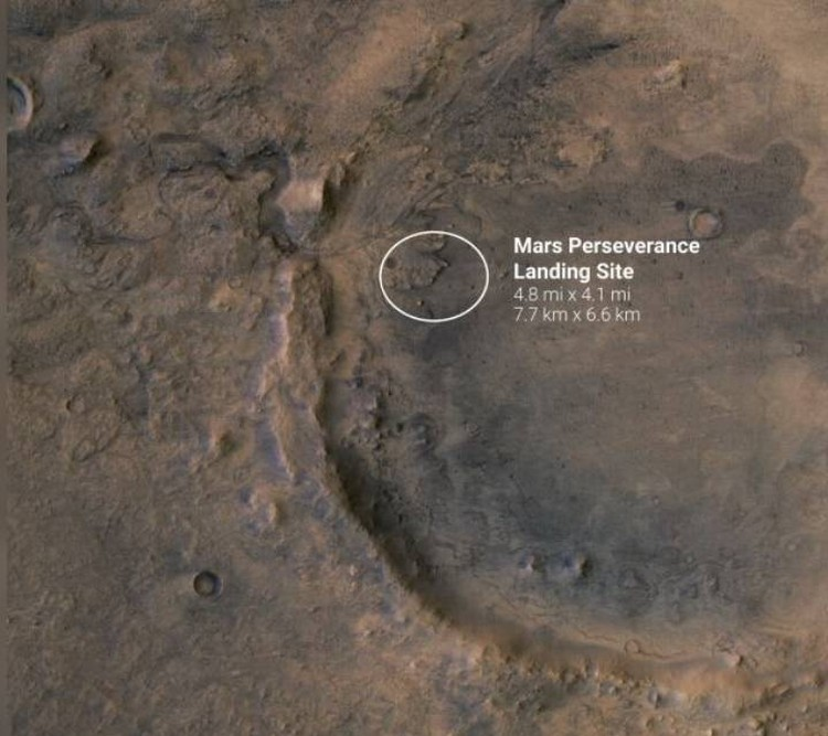 Место посадки Perseverance в кратере Езеро.