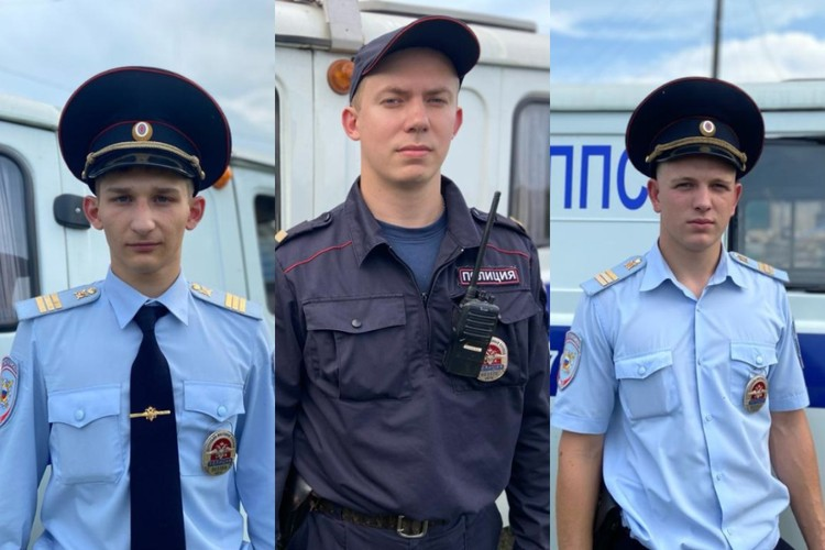 Полицейские, которые спасли девочку: Максим Лисько, Максим Яковлев и Константин Мусиньян (слева направо)