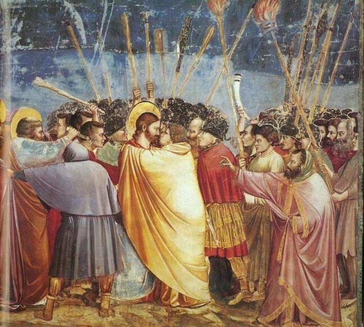 Отважный и яростный Петр - единственный, кто защищал Иисуса с мечом в руках во время ареста Христа в Гефсиманском саду. (Джотто, «Поцелуй Иуды», XIV век.)