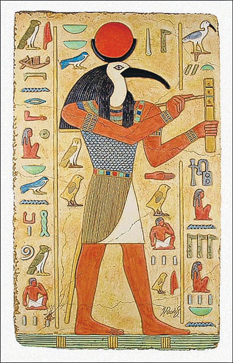 Согласно легендам людей когда-то посещал бог мудрости по имени Тот. (Фрагмент росписи из гробницы Нефертари.)