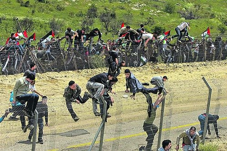 Сирийские демонстранты «штурмуют» границу между Израилем и Сирией в районе Голанских высот 15 мая 2011 года.