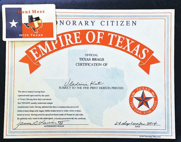 Спустя десятилетия после победы американцы вручили Владимиру Куцу сертификат почетного гражданина Техаса.