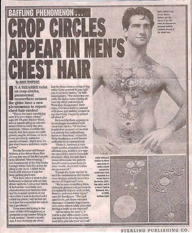 """Одна из шуток """"желтой прессы"""": газета рассказывает, что пиктограмма возникла на груди мужчины. Ее, якобы, образовали выпавшие волоски."""