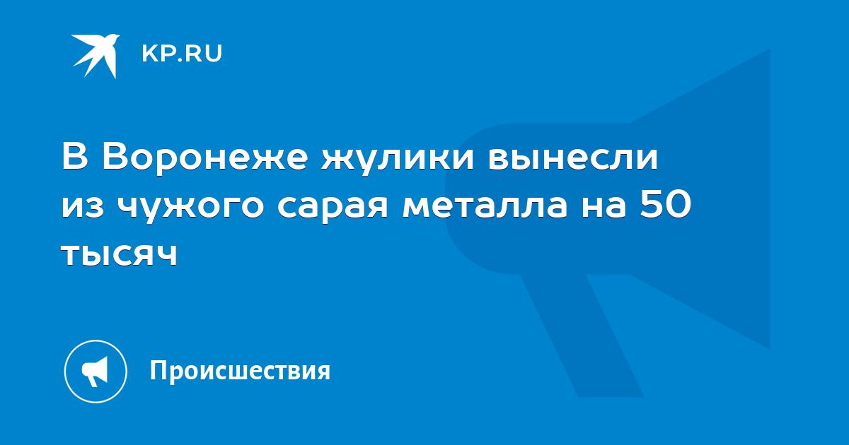 В Воронеже жулики вынесли из чужого сарая металла на 50 тысяч