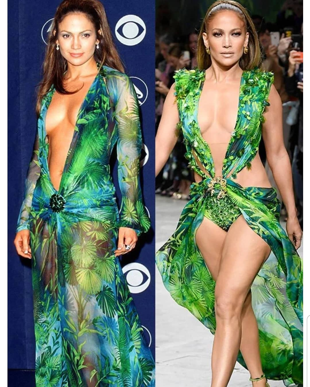 MUJERES: Cu l versi n les gust m s del traje Versace de #JenniferLopez? El que us en el 2000 hace 19 a os (a sus 31) o el que us hoy en el Milan Fashion Week (a sus 50 a os) ?