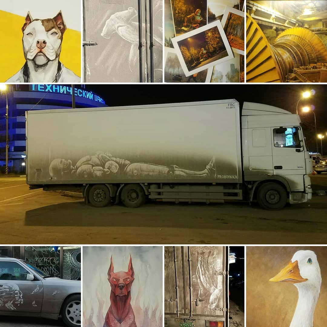 Художник создает настоящие шедевры на грязных автомобилях